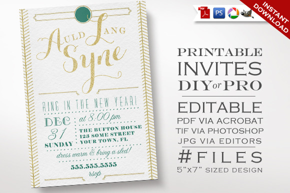New Years Invitation Art Deco