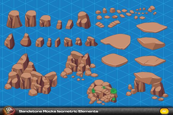 Sandstone Rock Isometric Elements