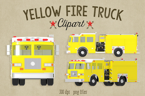 Yellow Fire Truck Commercial Clipart