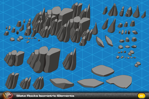 Slate Rock Isometric Elements