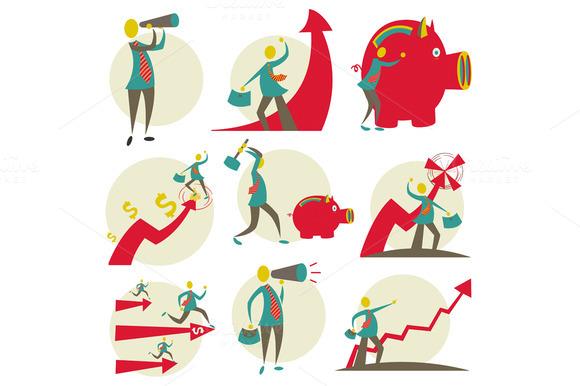 Set Of Businessmen Illustration