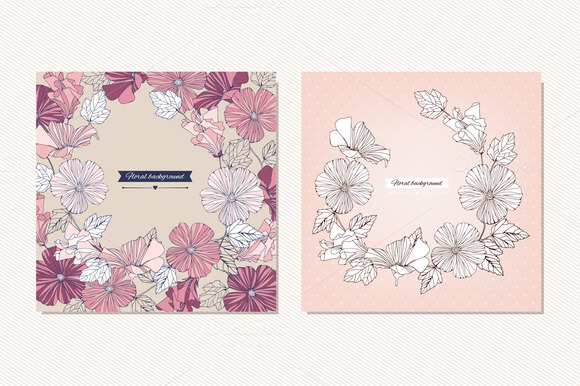 Vector Hibiscus Flowers Cards