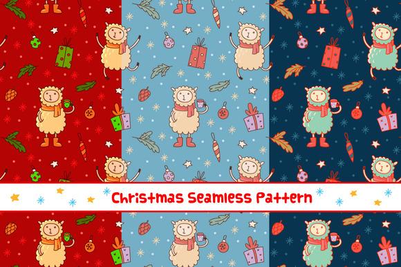 Cute Christmas Sheep Pattern