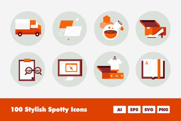 Spots 100 Spotty Colorful Icons