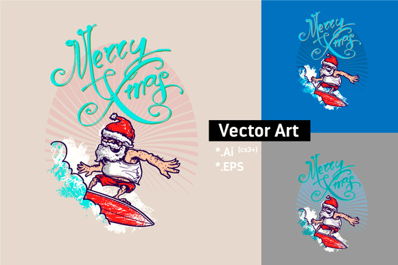 Santa Surfer Vector Art