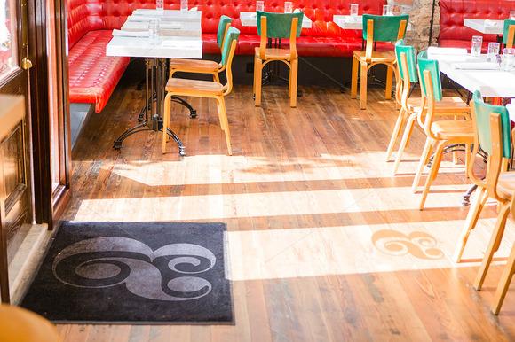 Cafe Floor Mat Door Shadow Mockup