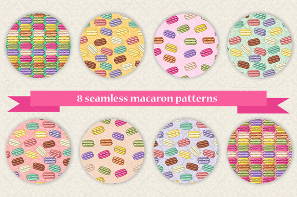 Set Of Seamless French Macarons