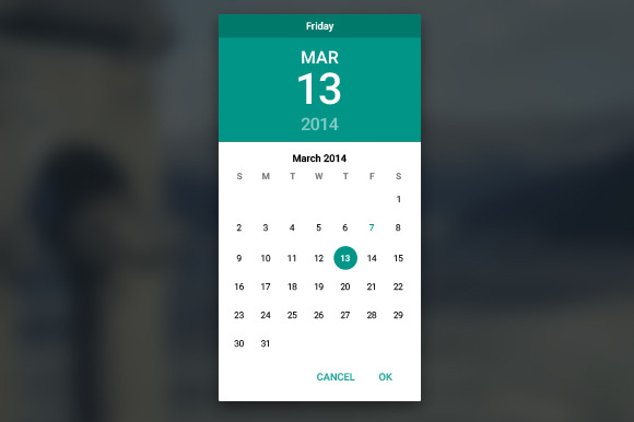 Material Datepicker Light
