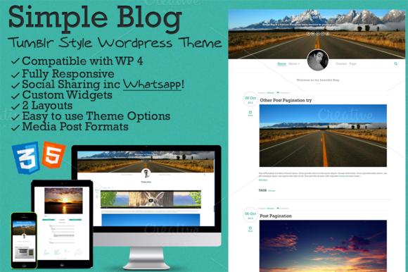 Simple Blog Tumblr Style WP Theme