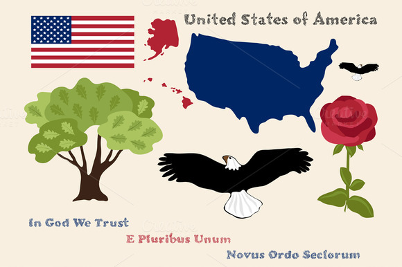 Principal Symbols Of USA Map Flag