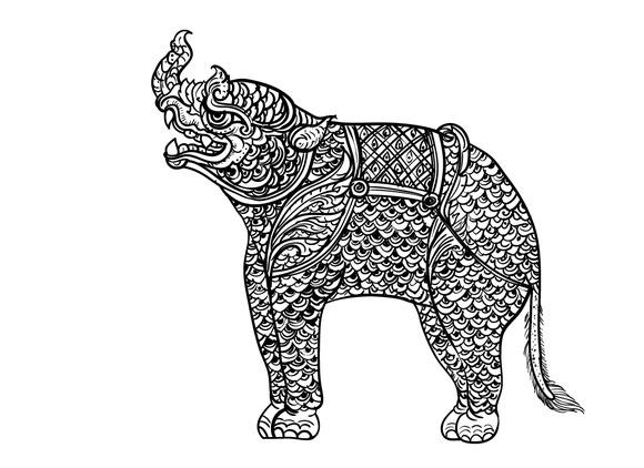 Drawing Of Rhinoceros Thai Tradition