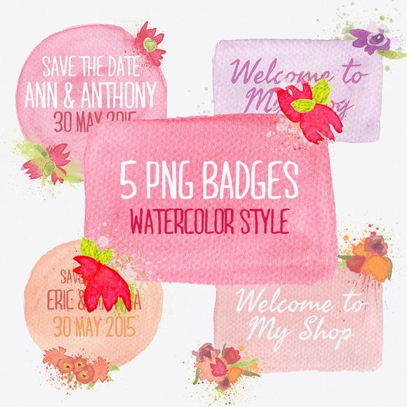 Watercolor Badges