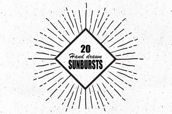 20 Hand Drawn Sunburts