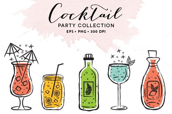 10 Cocktail Glasses EPS PNG
