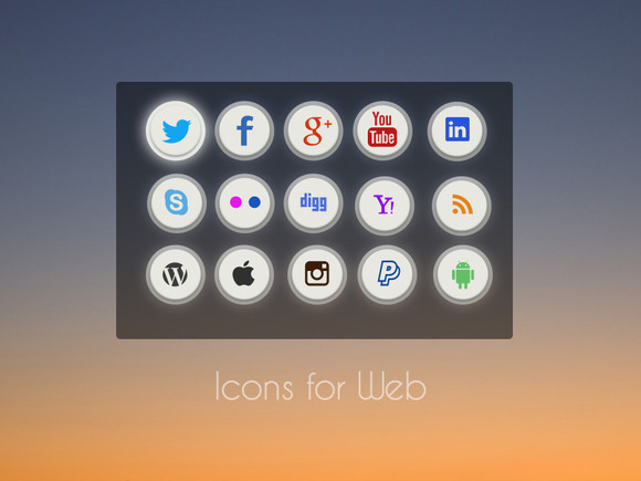 Social Icons Icons For Web PSD