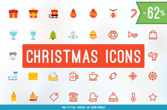 Merry Christmas Icons BUNDLE 62%