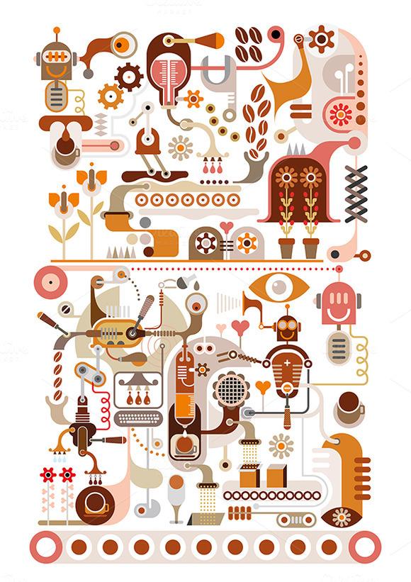 Coffee Factory Vector Illustration