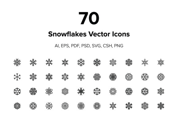 70 Snowflakes Vector Icons