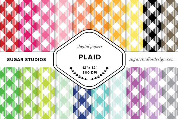 Plaid Digital Paper Set