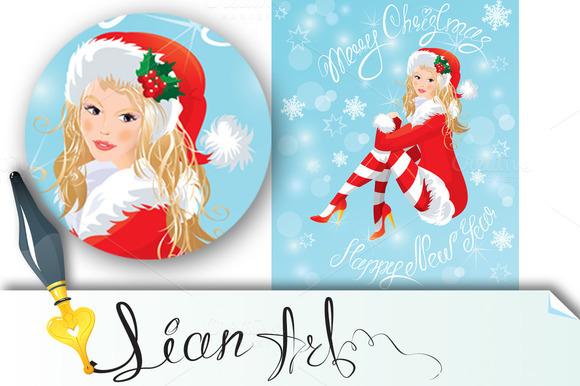 Blond Pin Up Christmas Girl