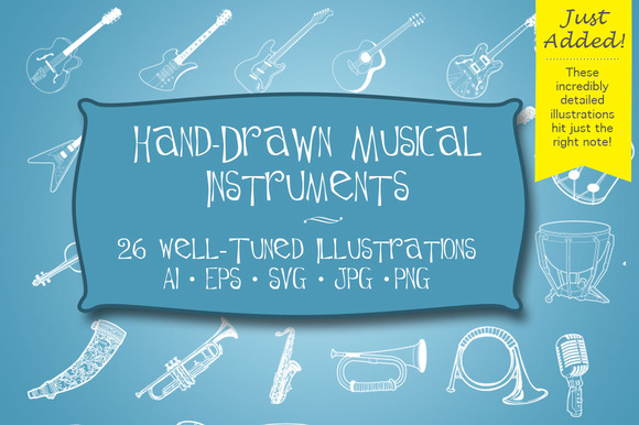 Hand Drawn Musical Instruments