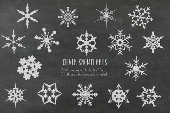 Chalk Snowflakes Clipart