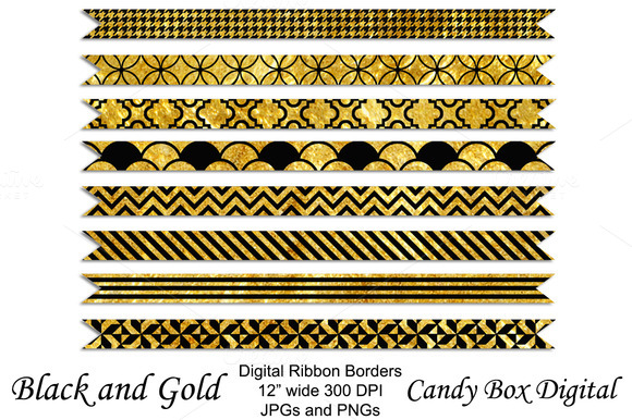 Gold And Black Ribbon Borders
