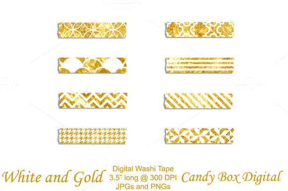 Gold And White Washi Tape