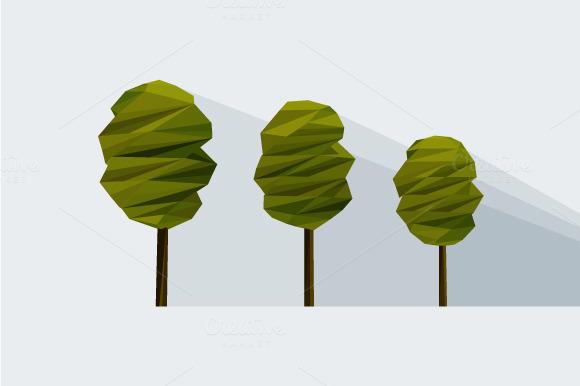 Vector Low-poly Three Tree