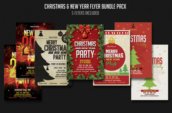 Christmas New Year Flyer Bundle