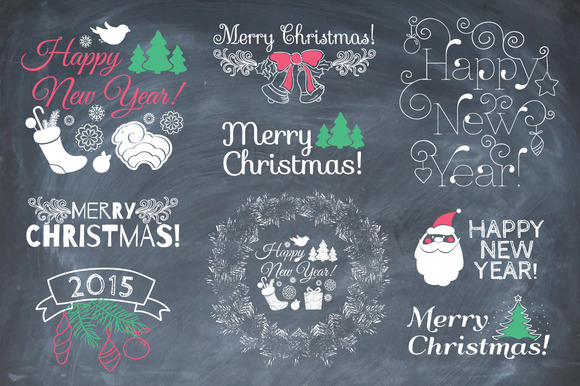 Set Of Christmas Elements Chalk