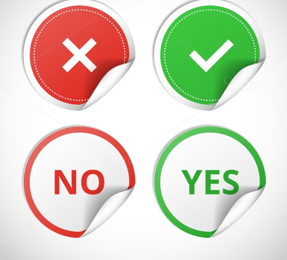 Yes And No Stickers