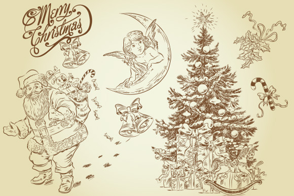 16 Vintage Christmas Cliparts