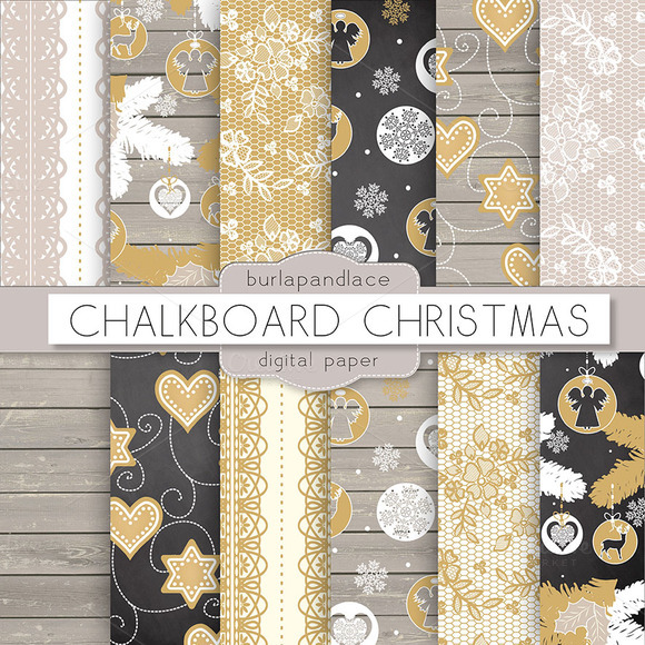 Chalkboard Wood Christmas Digital Pa