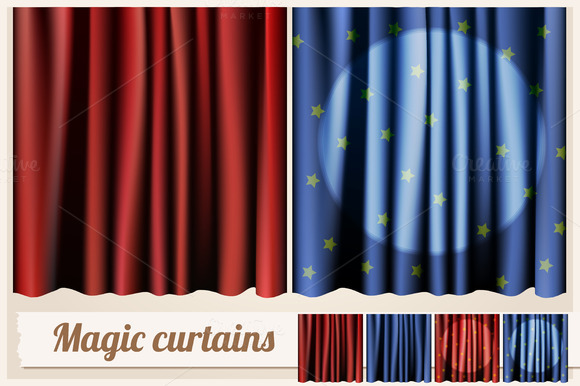 Magic Rd And Blue Curtains