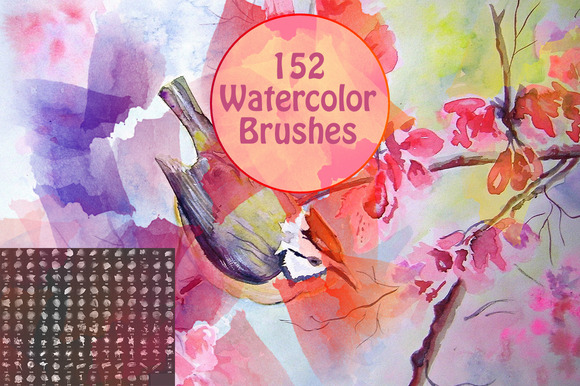 152 Watercolor Brushes