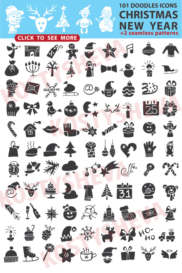 Christmas New Year Icons Silhouette