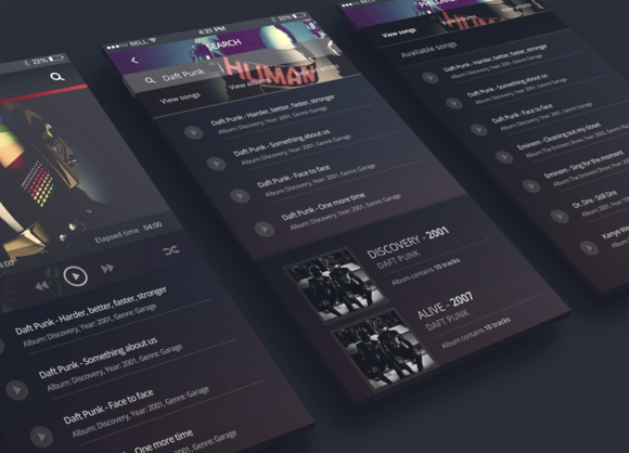 Philomela IPhone 6 Music Player UI