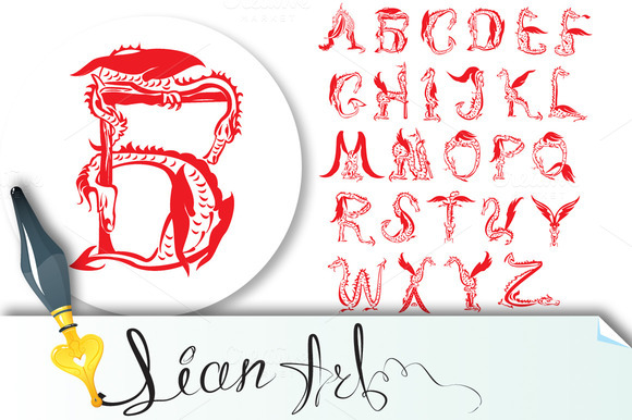 Dragon Alphabet Fantasy Dragon Font