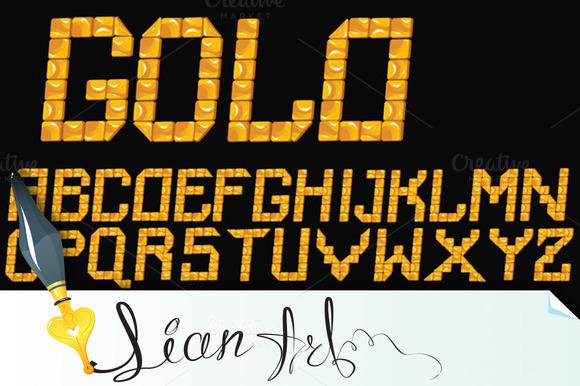 Vector Gold Mosaic Font