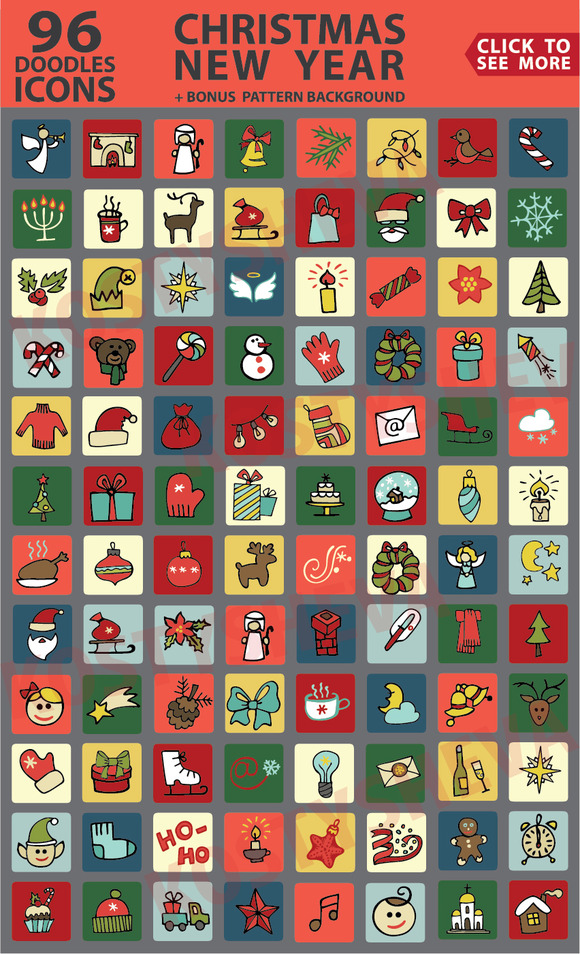 Christmas New Year Colored Icons Set
