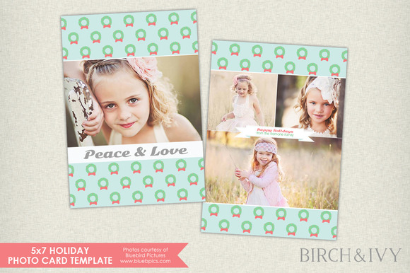 Holiday Wreaths Photo Card Template