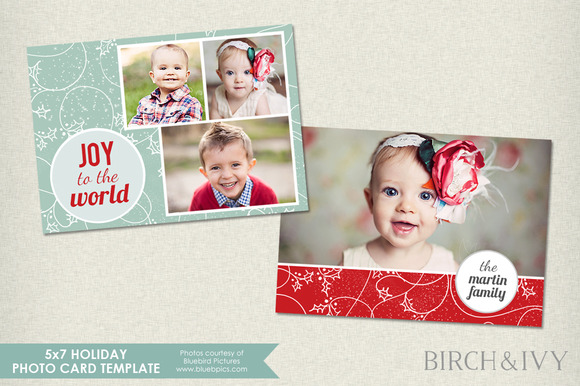 5x7 Holiday Photo Card Template