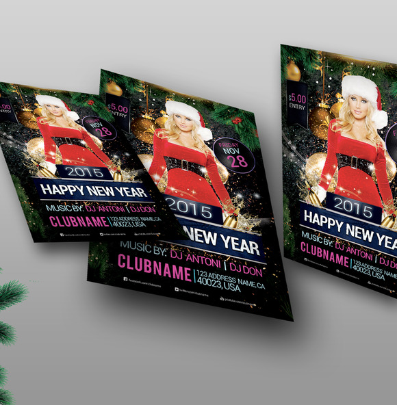 Happy New Year 2015 Flyer PSD