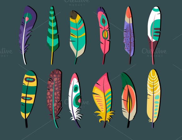 Feathers Icon Set Designs