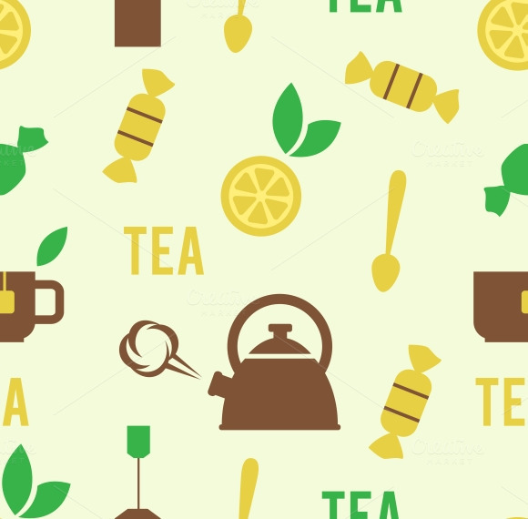 Tea Concept In Seamless Pattern