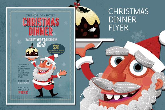 flyers for christmas dinner promotion designtube creative design content. Black Bedroom Furniture Sets. Home Design Ideas