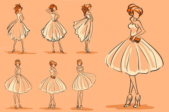 6 Sketches Of Woman Silhouettes