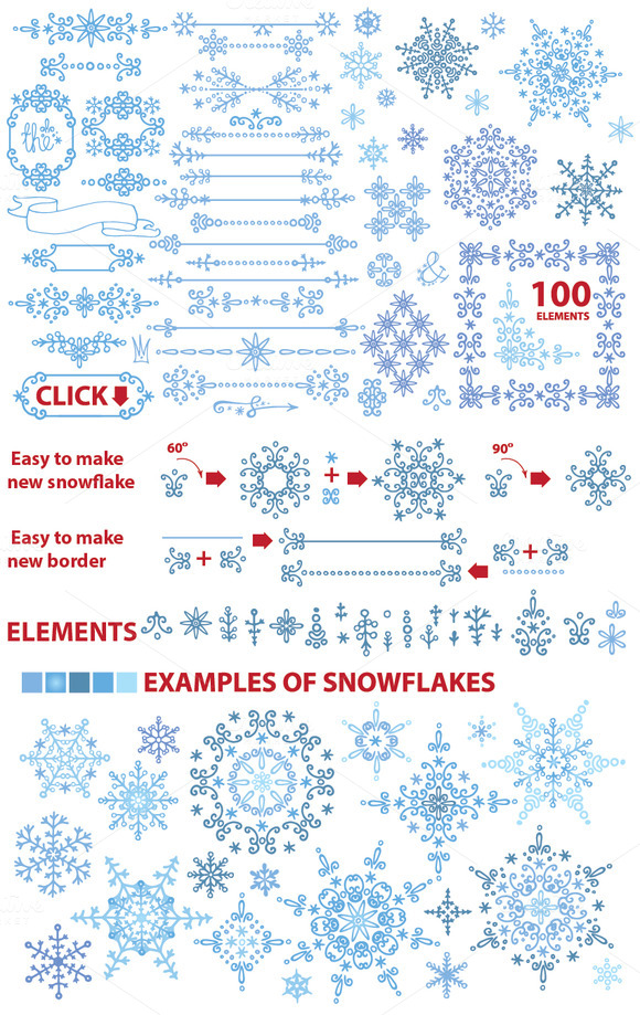 Snowflake Winter Set.Vector Doodles
