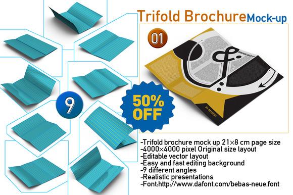 9-Trifold Brochure Mock Up